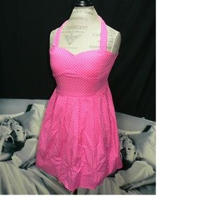 Pink Rockabilly Polkadot Dress Size Large